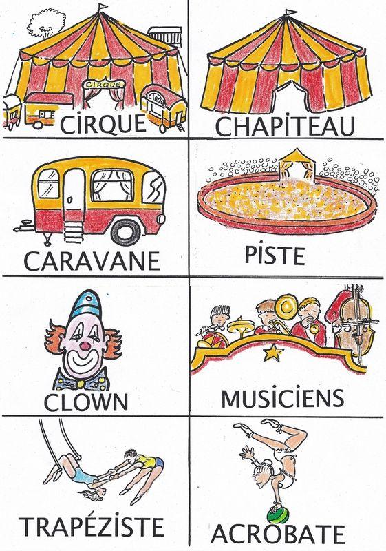 Coloriage Piste Cirque.Imagier Du Cirque En Couleur Francais Cirque Dessin