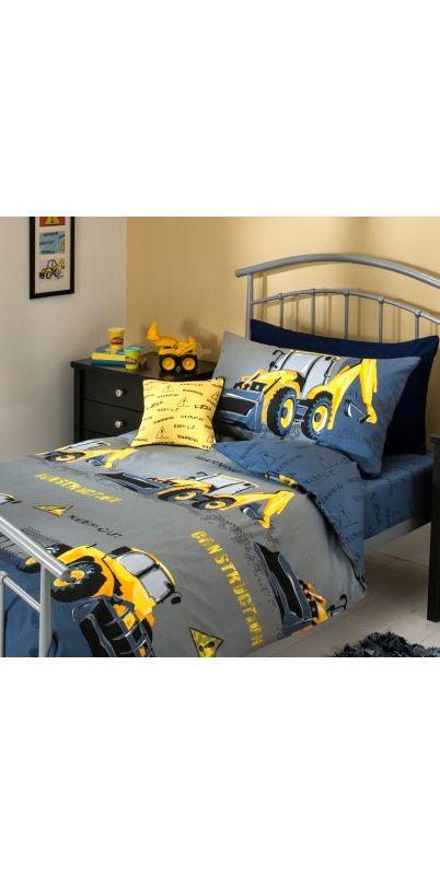 George Home Digger Duvet Set Single Kids Asda Direct Boys Bedroom Construction Boys Construction Room Construction Bedroom