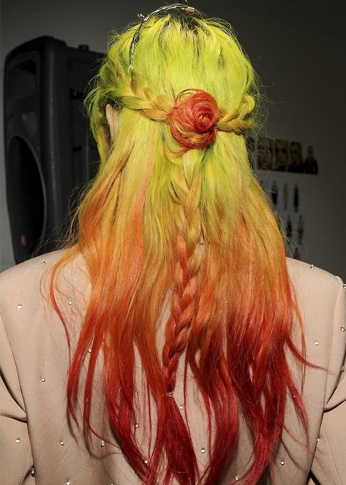 Rodarte fall backstage chloe yellow to red ombre hair colors ideas also best cutzz images in haircuts beauty rh pinterest
