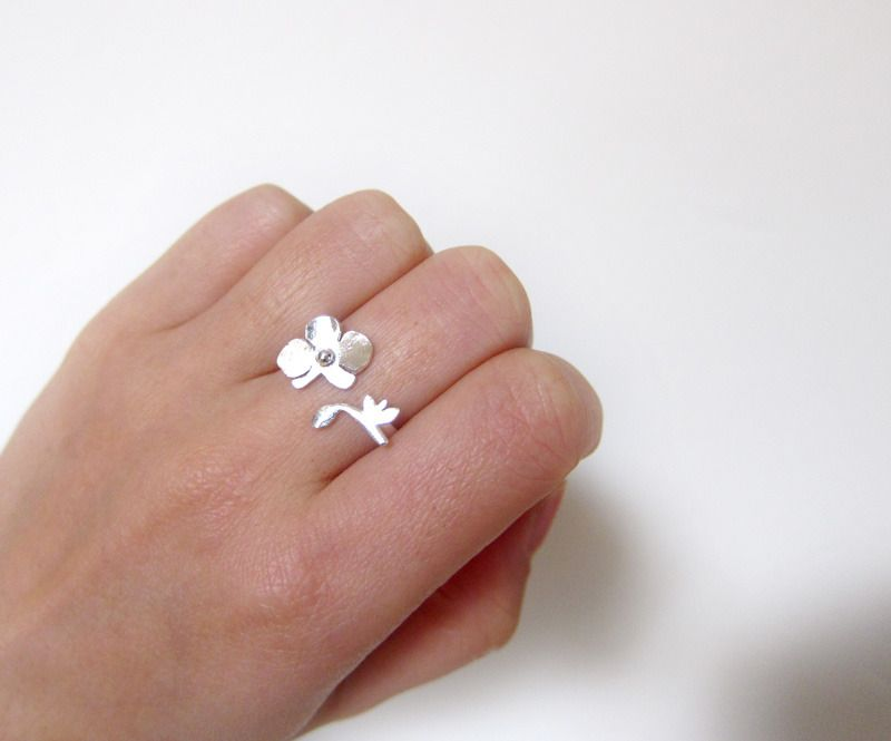 Orchid - Flower Ring - Handmade Sterling Silver Ring | Smiling-SilverSmith Handmade Silver Rings & Jewelry