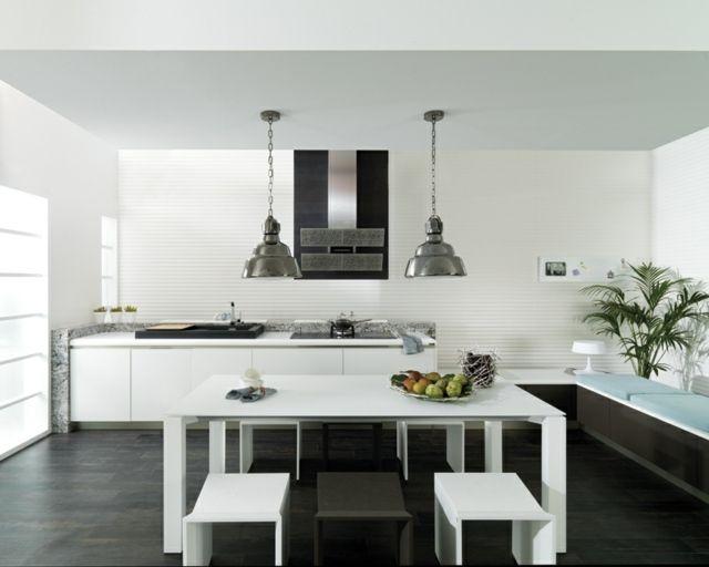 weiße Küche Küchenzeile originelles Design Ideen | Firmenküche ...