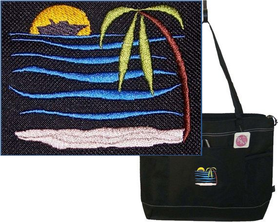Tropical Beach Scene Gemline Select by RKEmbroideryBoutique