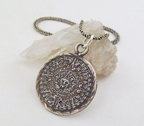 Sterling silver mayan calendar pendant necklace vintage jewelry sterling silver mayan calendar pendant necklace vintage jewelry tribal aztec mayan jewelry silver aloadofball Image collections