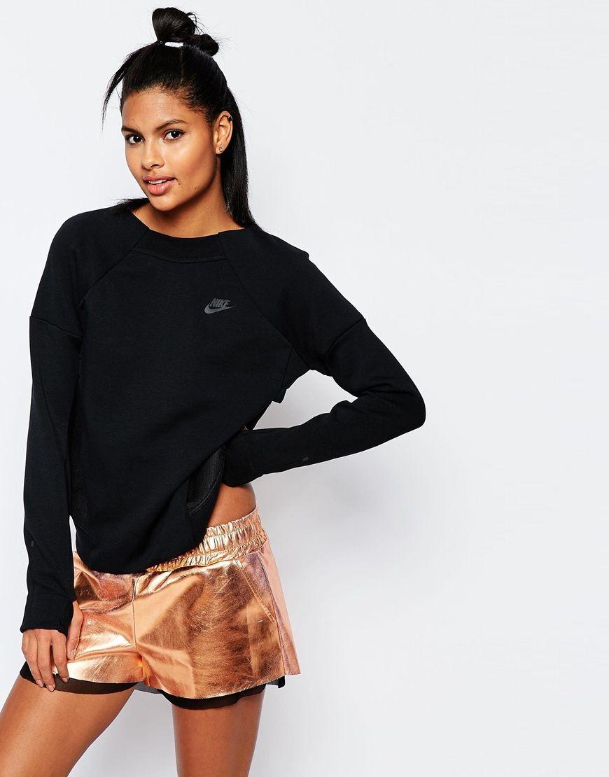 Nike Luxury Fleece Boxy Crew Neck Sweatshirt With Mesh Panels Women Hoodies Sweatshirts Crew Neck Sweatshirt Sweatshirts Women [ 1110 x 870 Pixel ]