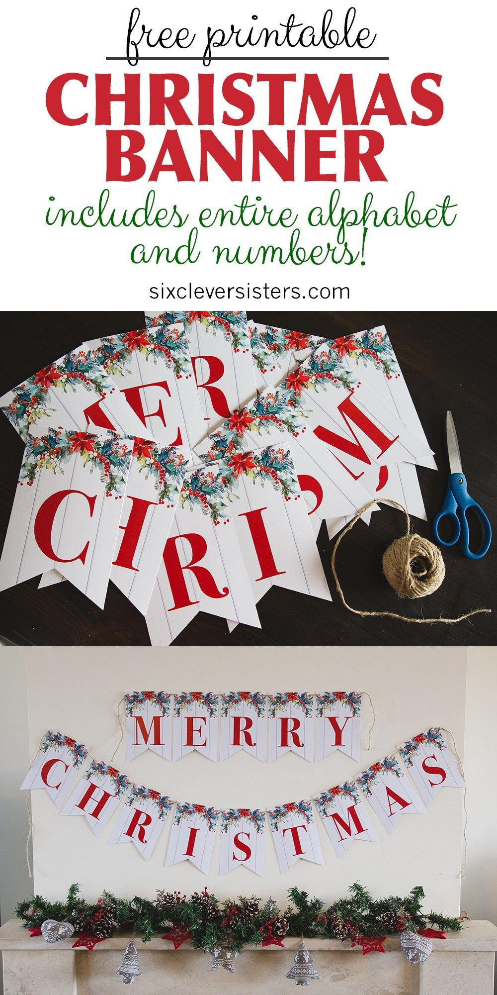 Printable Merry Christmas Banner Six Clever Sisters Merry Christmas Banner Printable Merry Christmas Printable Christmas Banner Printable