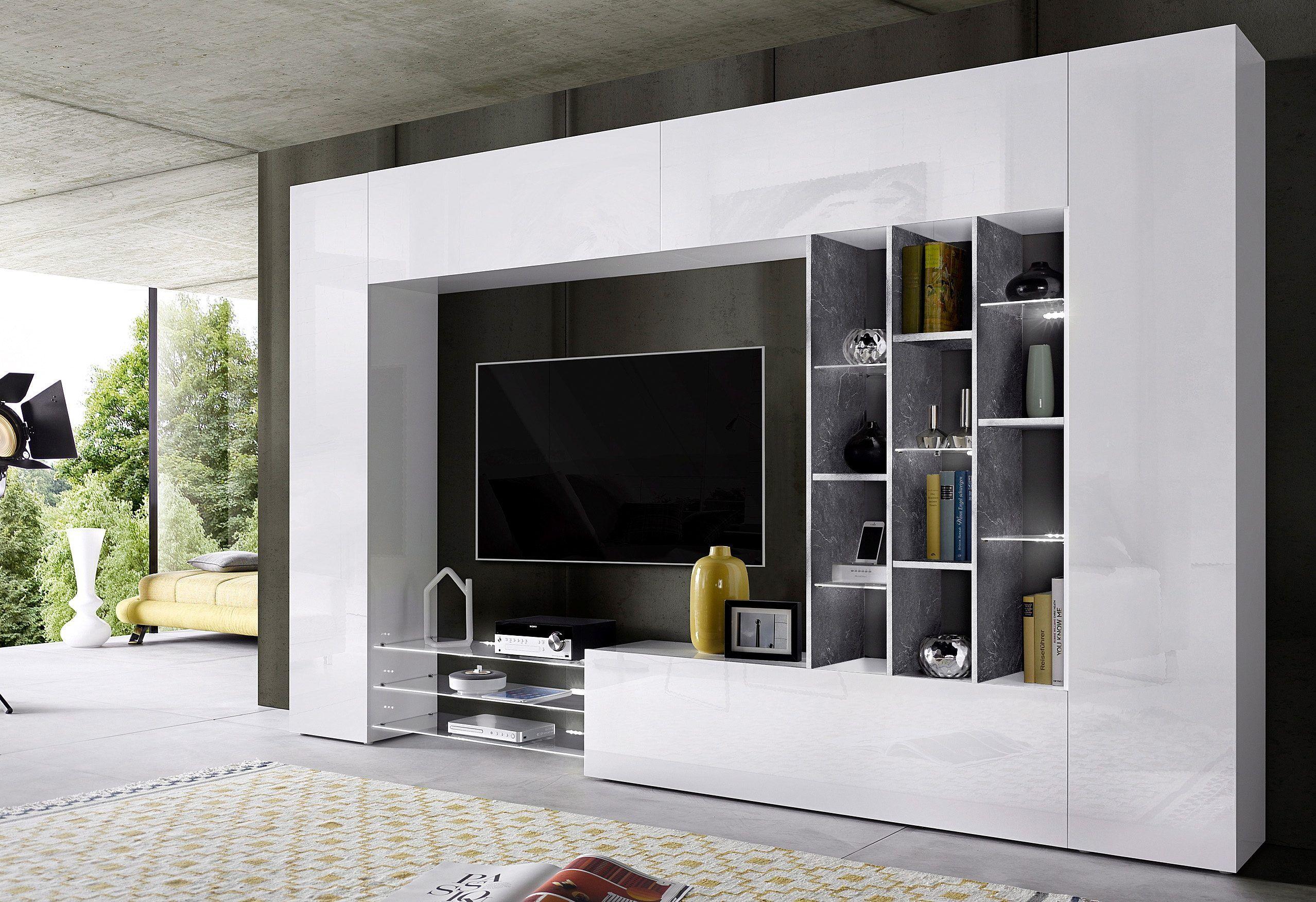 TECNOS Wohnwand Weiß, Hochglanz Fronten, FSC® Zertifiziert Jetzt Bestellen  Unter: