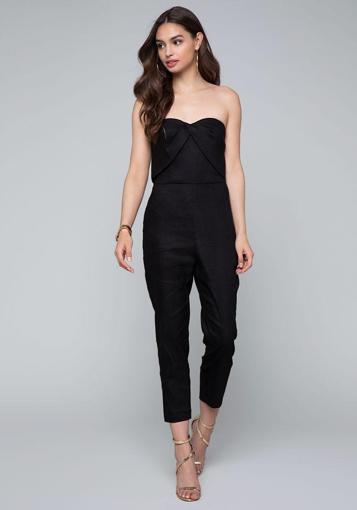 a265311092 Bebe Women s Linen Bustier Jumpsuit
