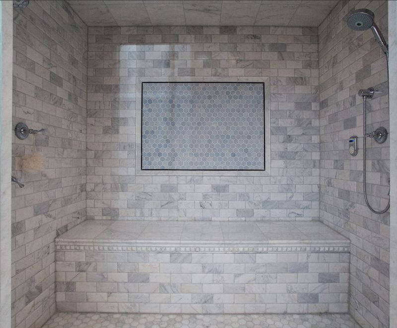 Hampton Carrara Polished Tile Master Bath Remodel