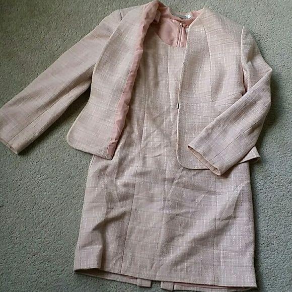 Baby Pink Dress and Jacket Set Tweed Dress and Jacket Set Tahari Dresses