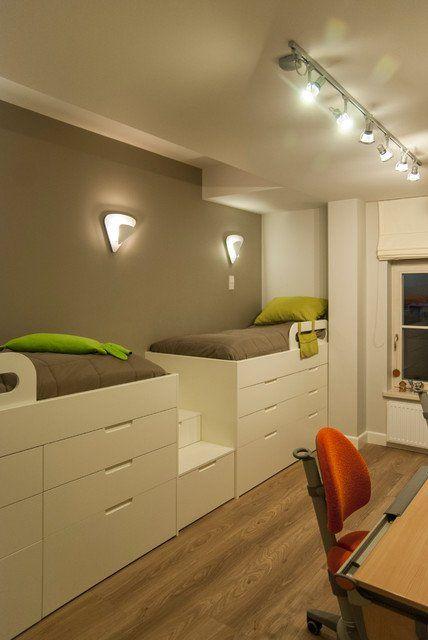 Coole Zimmer Ideen Für Jugendliche  Mit Zwei Hochbetten Weiß Und Wandfarbe Grau