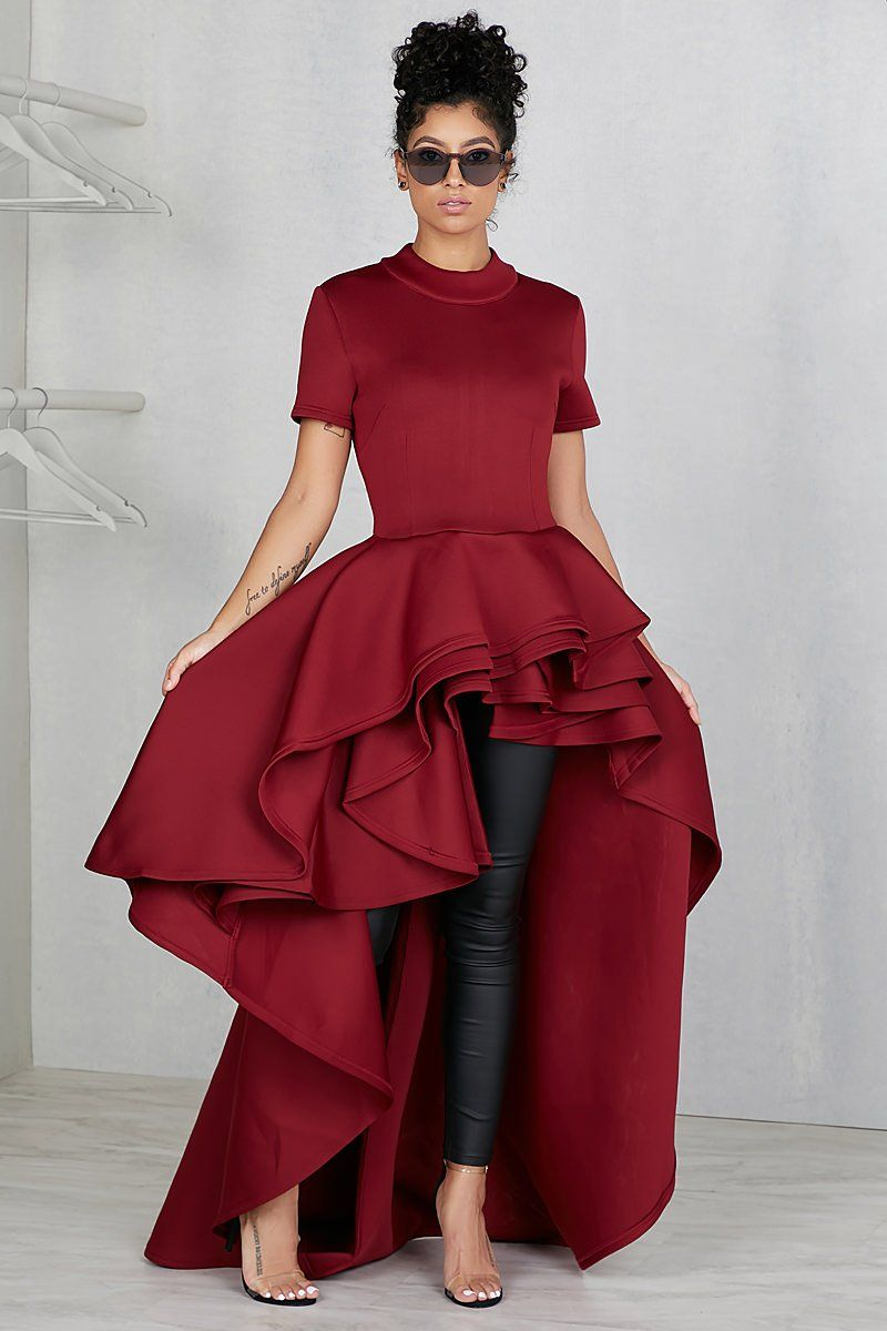 Extended High Low Ruffle Top (Wine