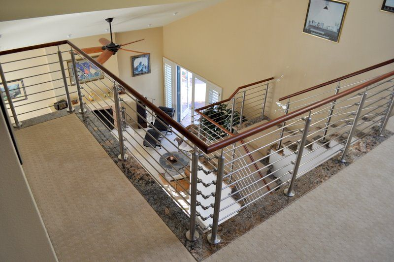 Wood Round Handrail for Stainless Fittings | Wood railing ...
