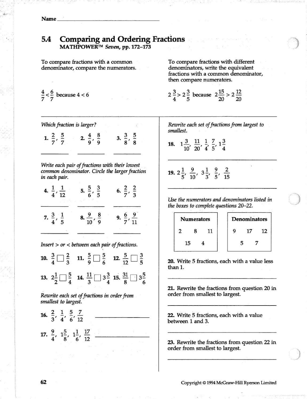 Mathpower 7 Work Sheets