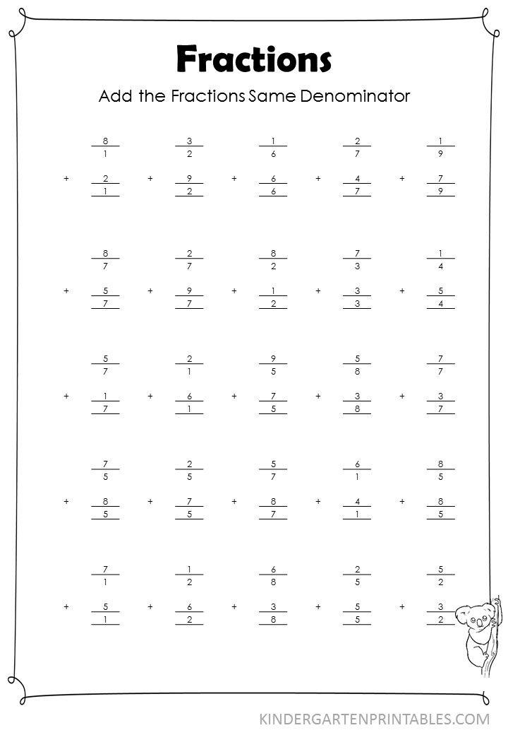 Vertical Add Fractions Same Denominator Worksheet Vertical Add Fractions Same Denominator Adding Fractions Uncommon Denominators Add Fractions Adding unlike fractions worksheet grade