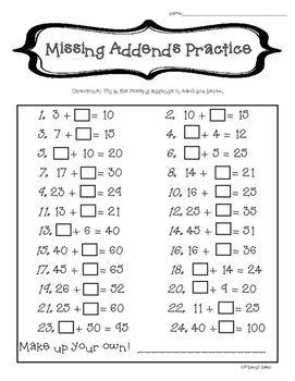 missing addends mental math practice 2 digit addition clasa 1. Black Bedroom Furniture Sets. Home Design Ideas