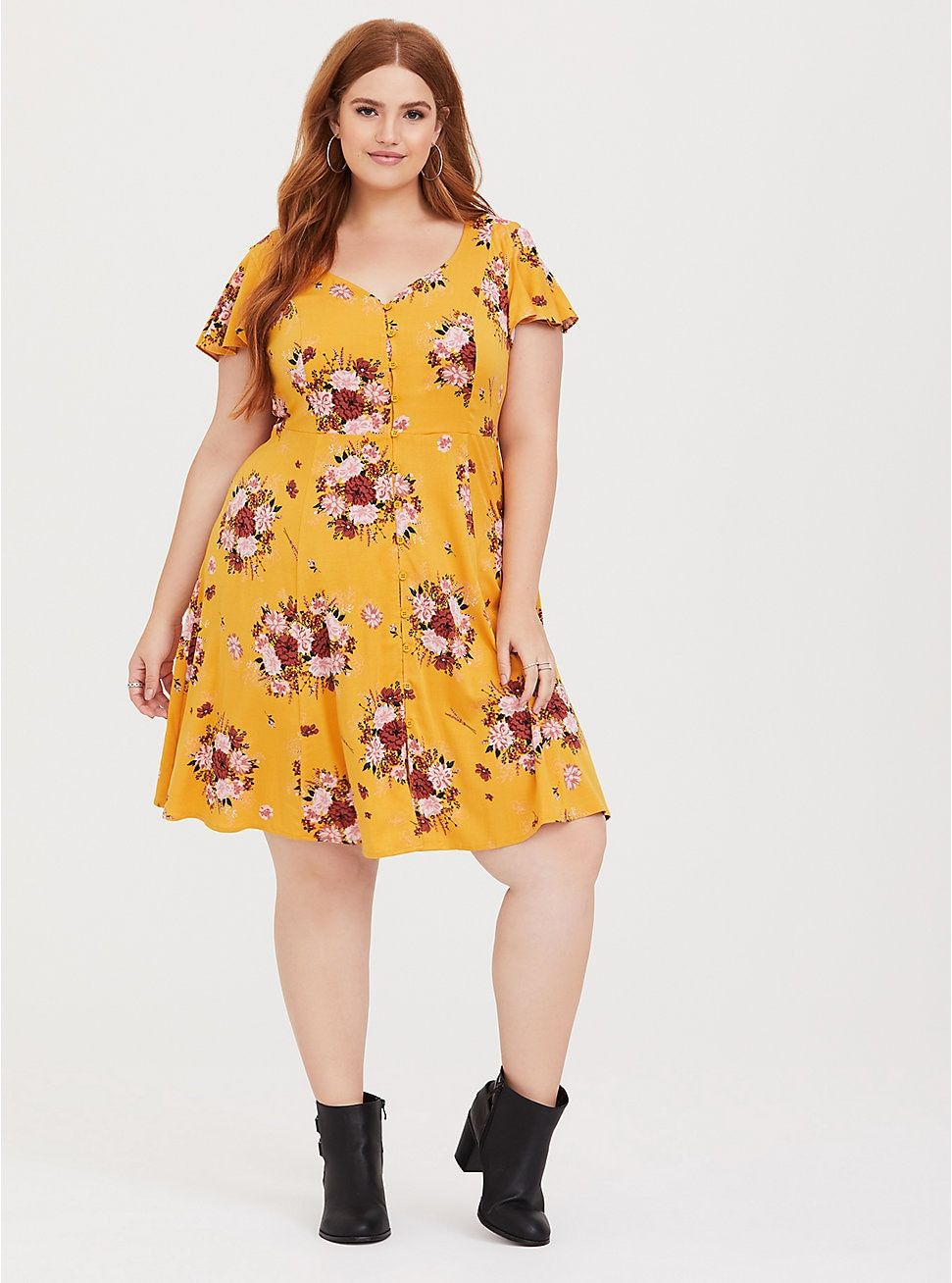 a456b0ad51cd Yellow Floral Button-Front Challis Skater Dress in 2019 | Dresses ...