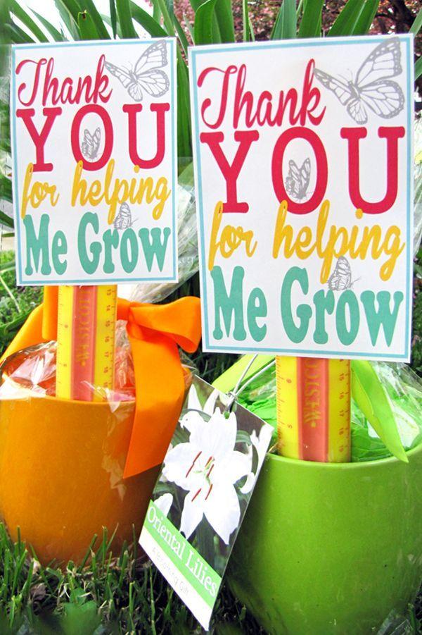 Free Printable - Thank you for helping me grow. Cute Teacher Appreciation Gift Idea #teacherappreciation #teacher #gift #giftidea #printable #freeprintable