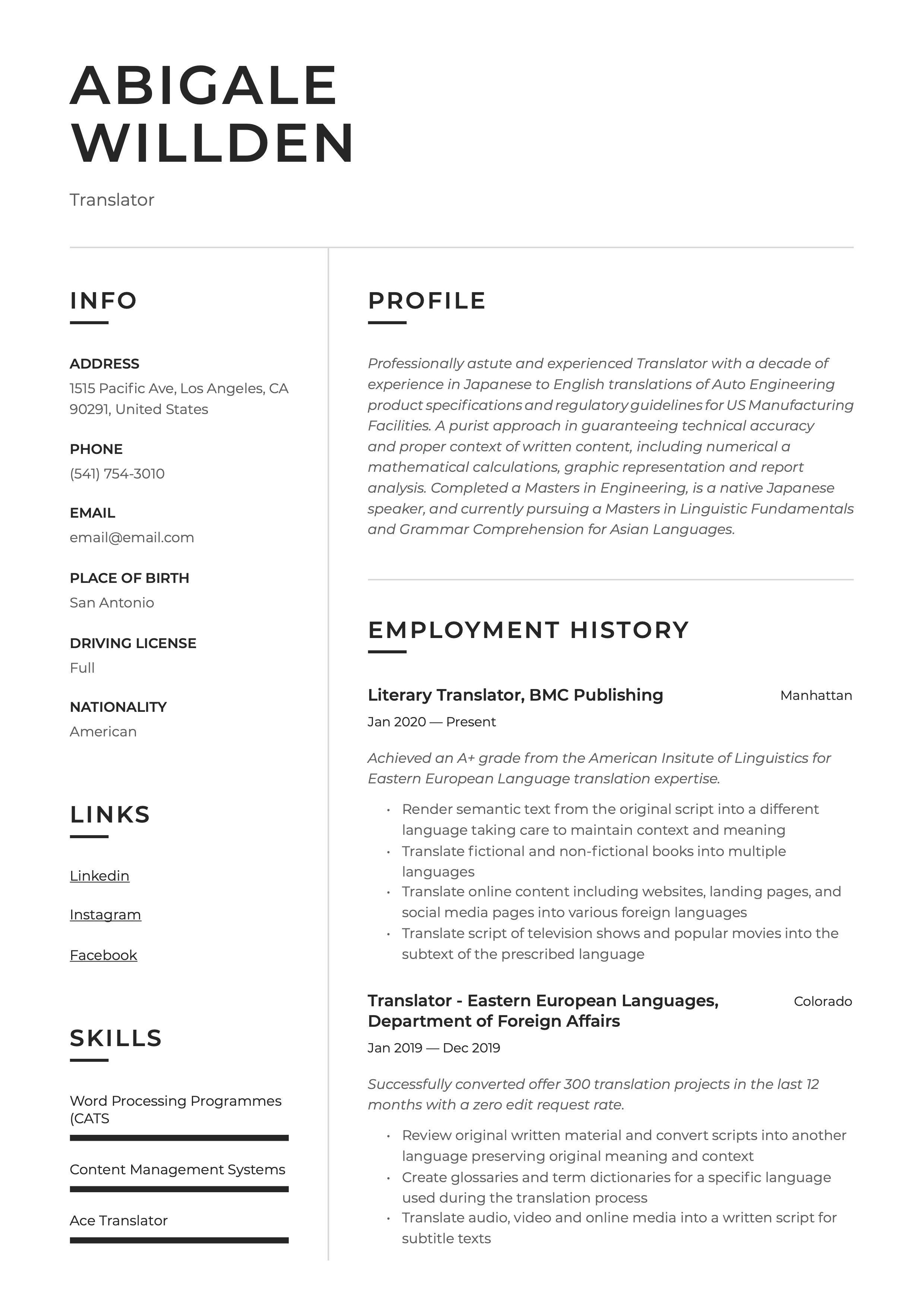 Traslator Resume Example Guided Writing Resume Writing Resume Examples