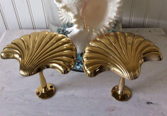 Vintage Pair Of Solid Brass Seashell Curtain Tie Backs Hooks