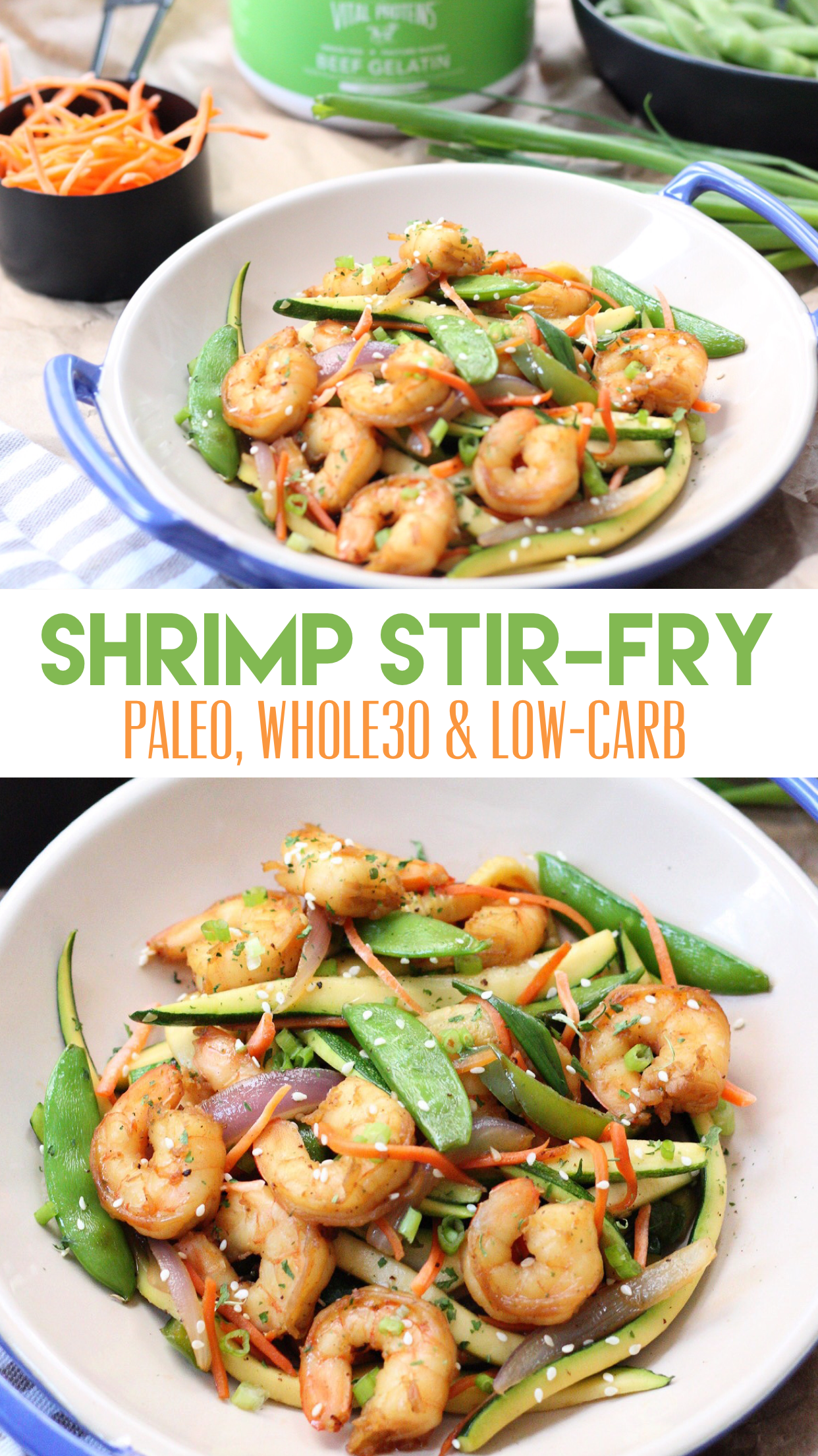 Paleo Shrimp Stir Fry: Whole30 & Low Carb + Tips for Cooking With Gelatin - Whole Kitchen Sink