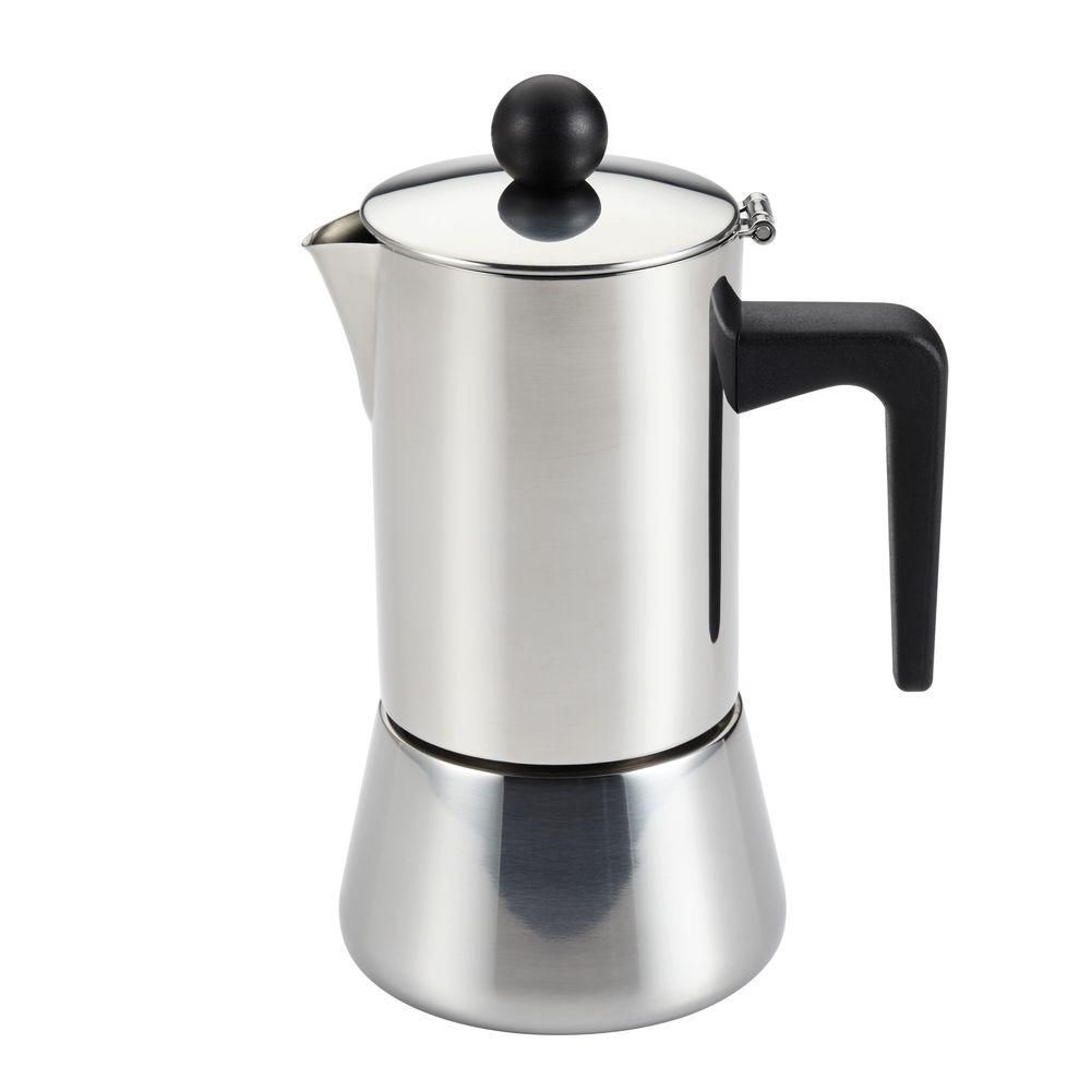 Cup stovetop espresso maker in stainless steel silver espresso