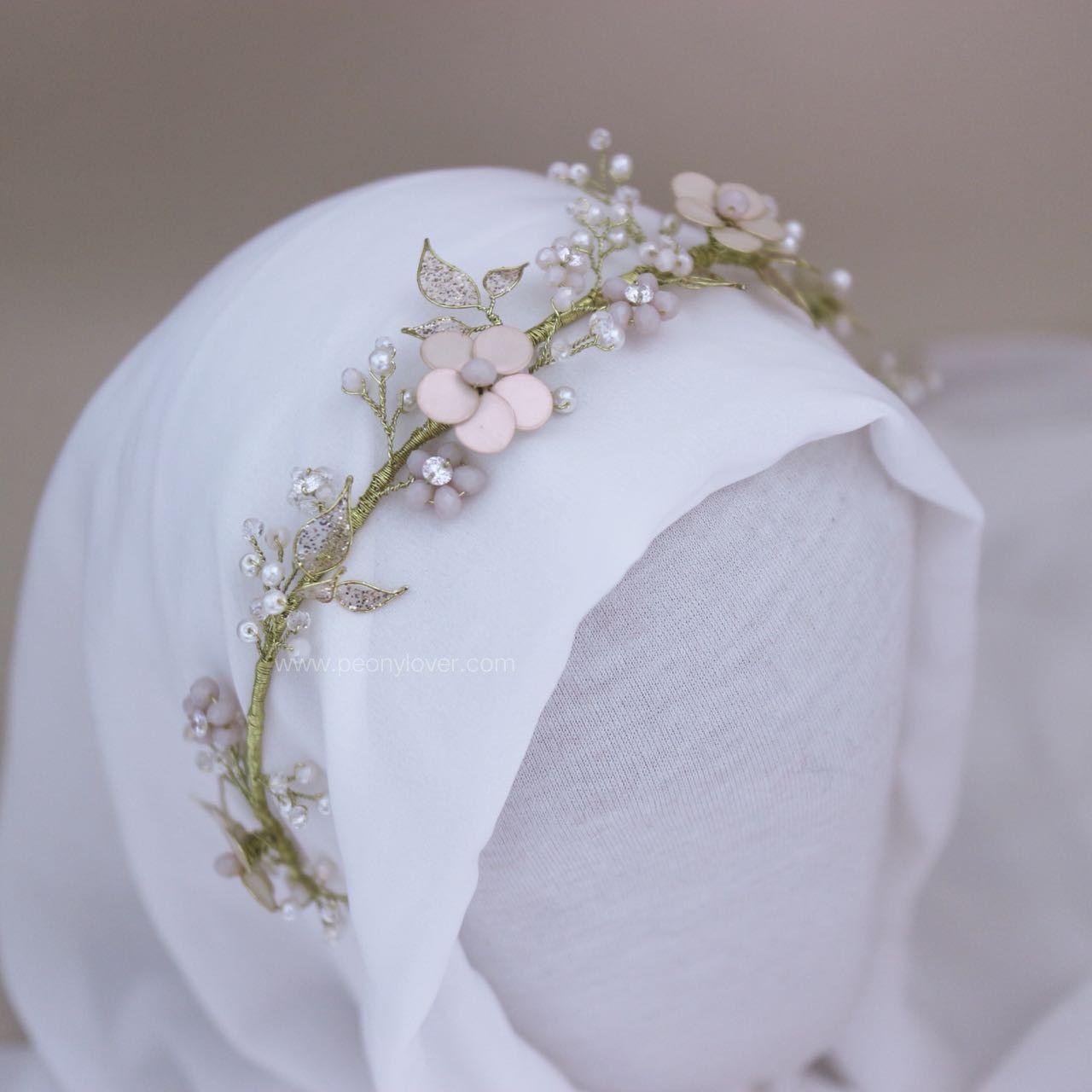 Headpiece Hijab Headpiece Jilbab Headpiece Diy Headpiece Wedding Aksesoris Hijab Wedding Flower Hair Pieces Bridal Flower Headpiece Bride Floral