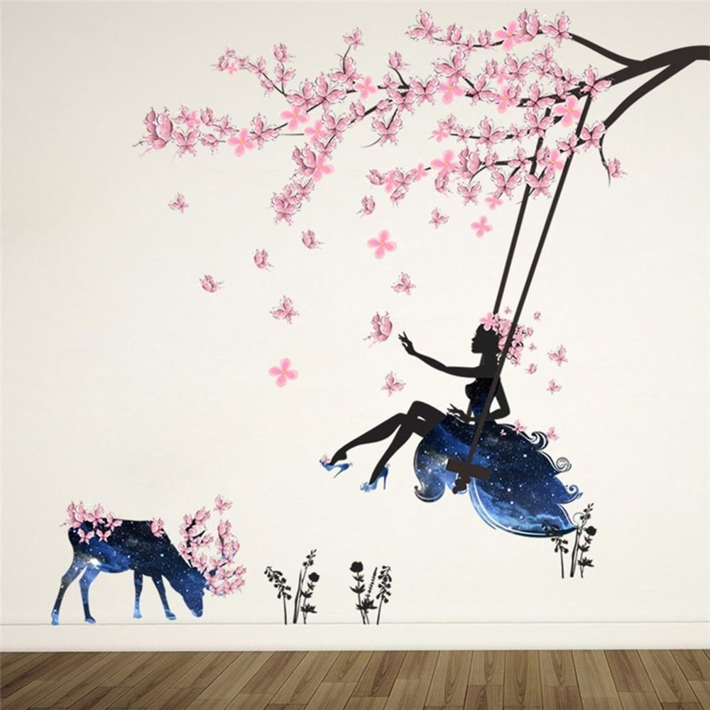 Fairy Girl Wall Sticker For Kids Rooms Flower Butterfly Wall Decal Charming  #FairyGirlChina #Modern