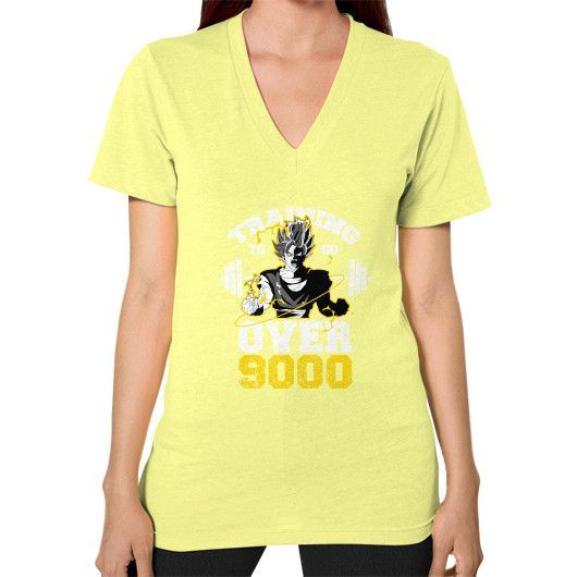 TRAINING TO GO OVER 9000 V-Neck (on woman)