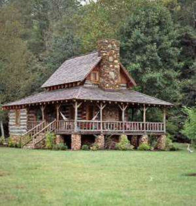 cabin, trees, no people, grassahhhh. sell the house & buy a small