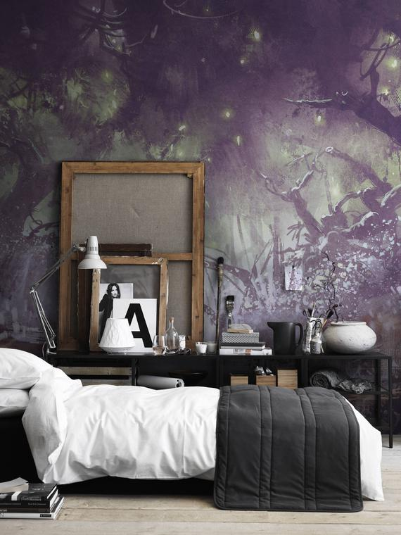 Enchanted Forest Fantasy Landscape Wall Covering Wall Decor Etsy Removable Wallpaper Dark Interiors Wall Wallpaper