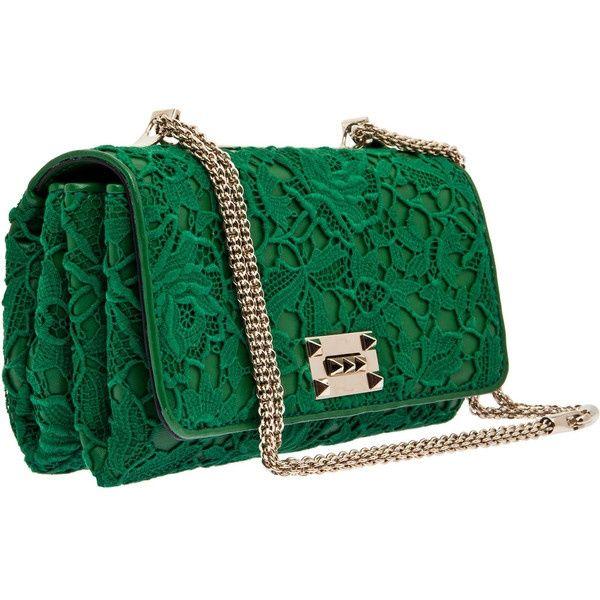 Valentino Green Lace Shoulder Bag