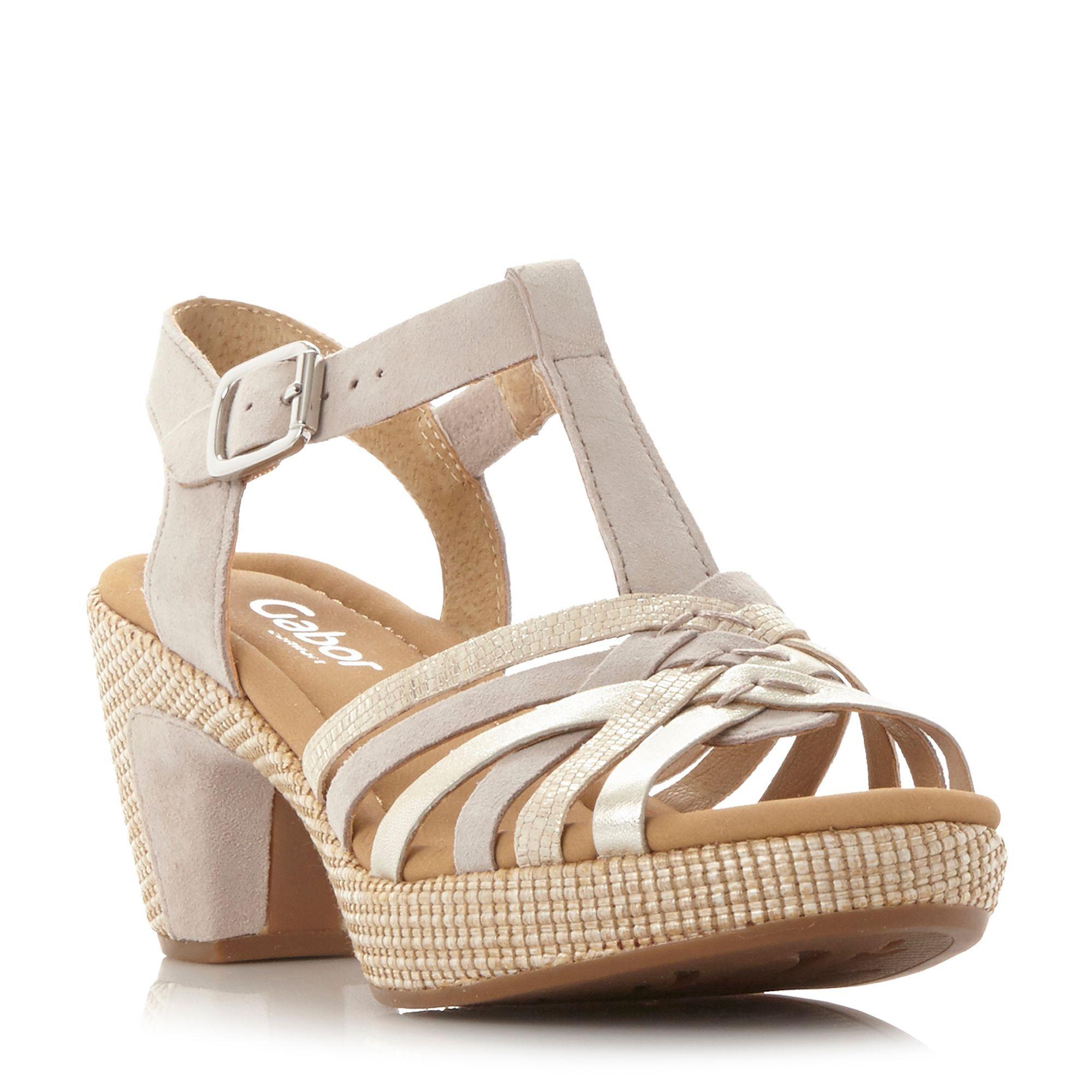 Gabor Cheri multi strap buckle sandals, Beige   Sandals