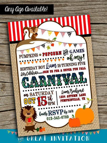 Fall Carnival Invite Invitation By TheGreatInvitation