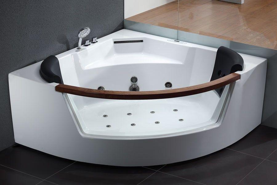 EAGO AM197 5 Rounded Clear Modern Corner Whirlpool Bath Tub with ...