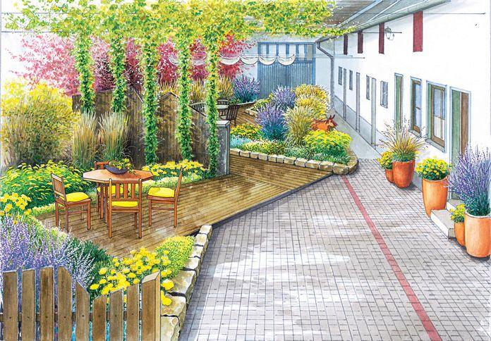 Ein innenhof wird neu gestaltet hof garten innenhof - Kiesgarten bepflanzung ...