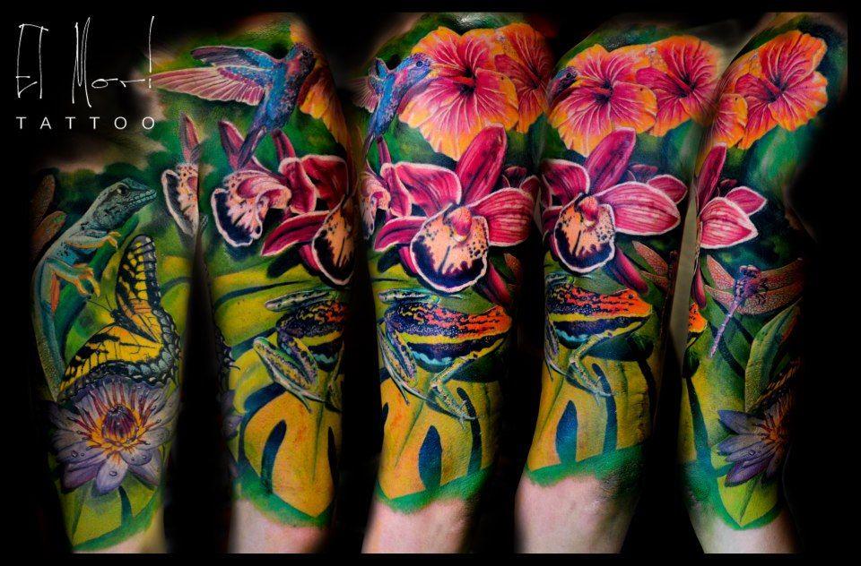 jungle sleeve tattoo , instead of frogtiger or black