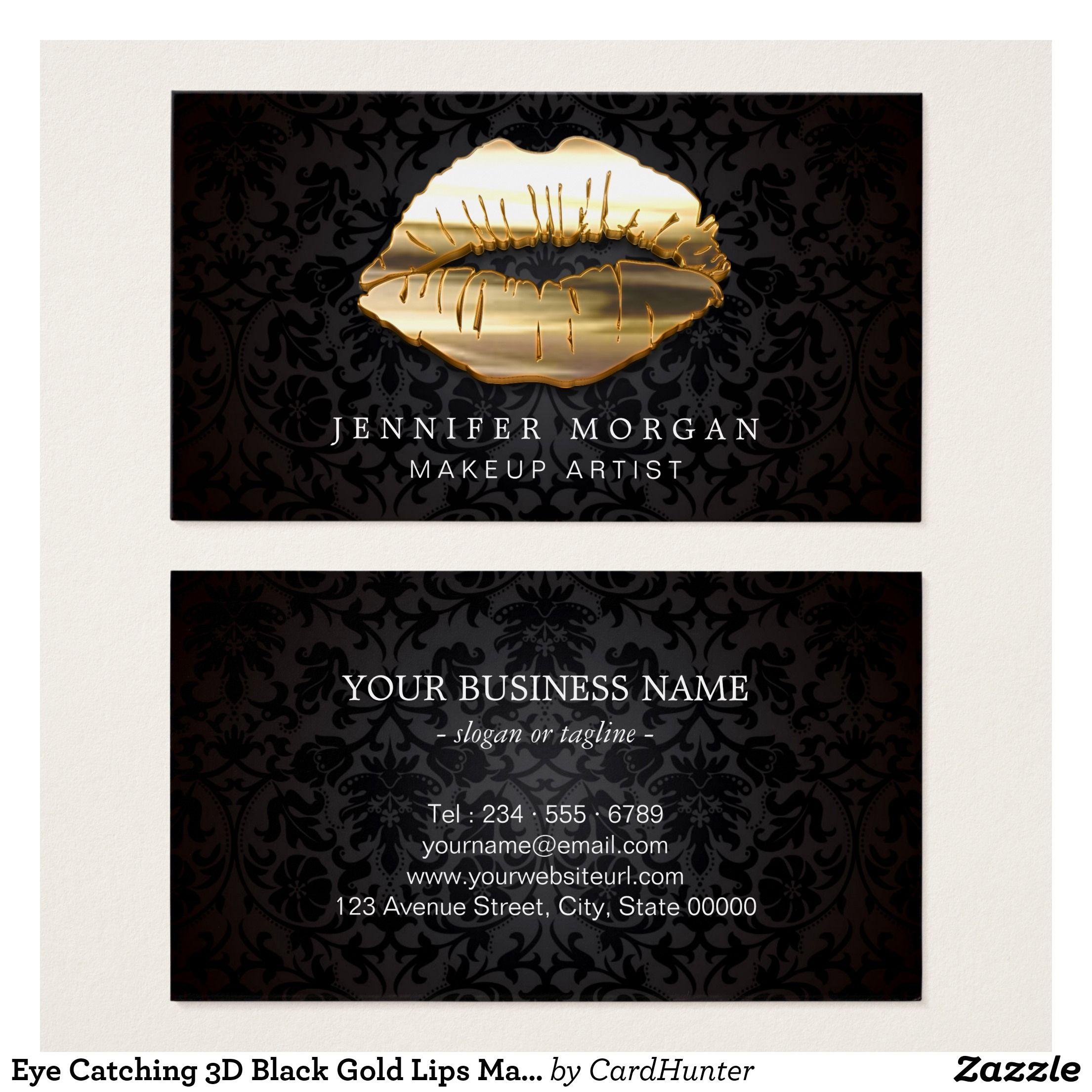 Eye Catching 3D Black Gold Lips Makeup Artist Business Card ...