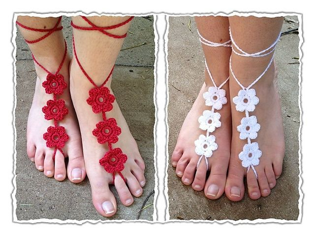 Ravelry: Flower Barefoot Sandals crochet pattern pattern by Aimee ...