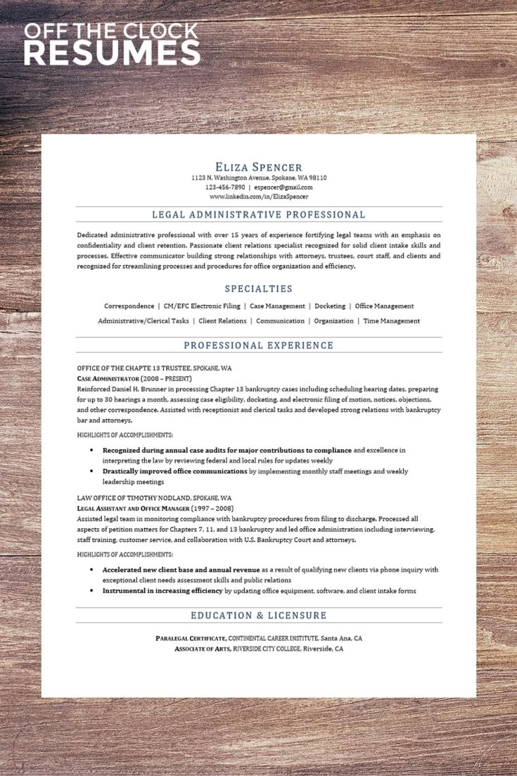 legal assistant resume example off the clock resumes career