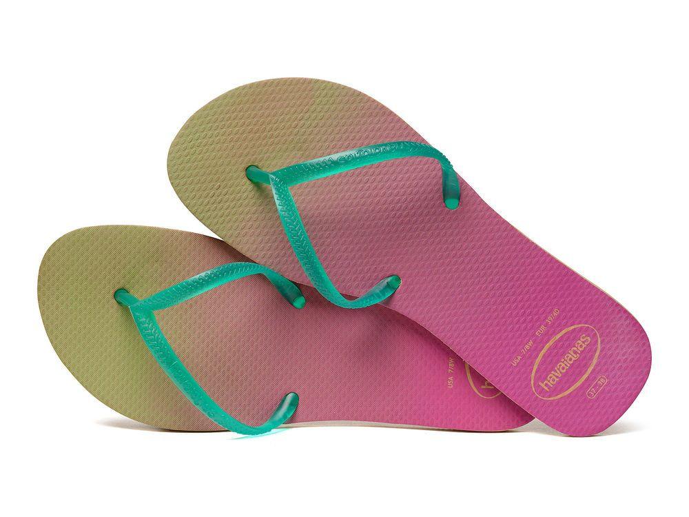 bc5fd6153 HAVAIANAS Short Strap Pink And Green Flip-flops Beige Green NWT Sz 6