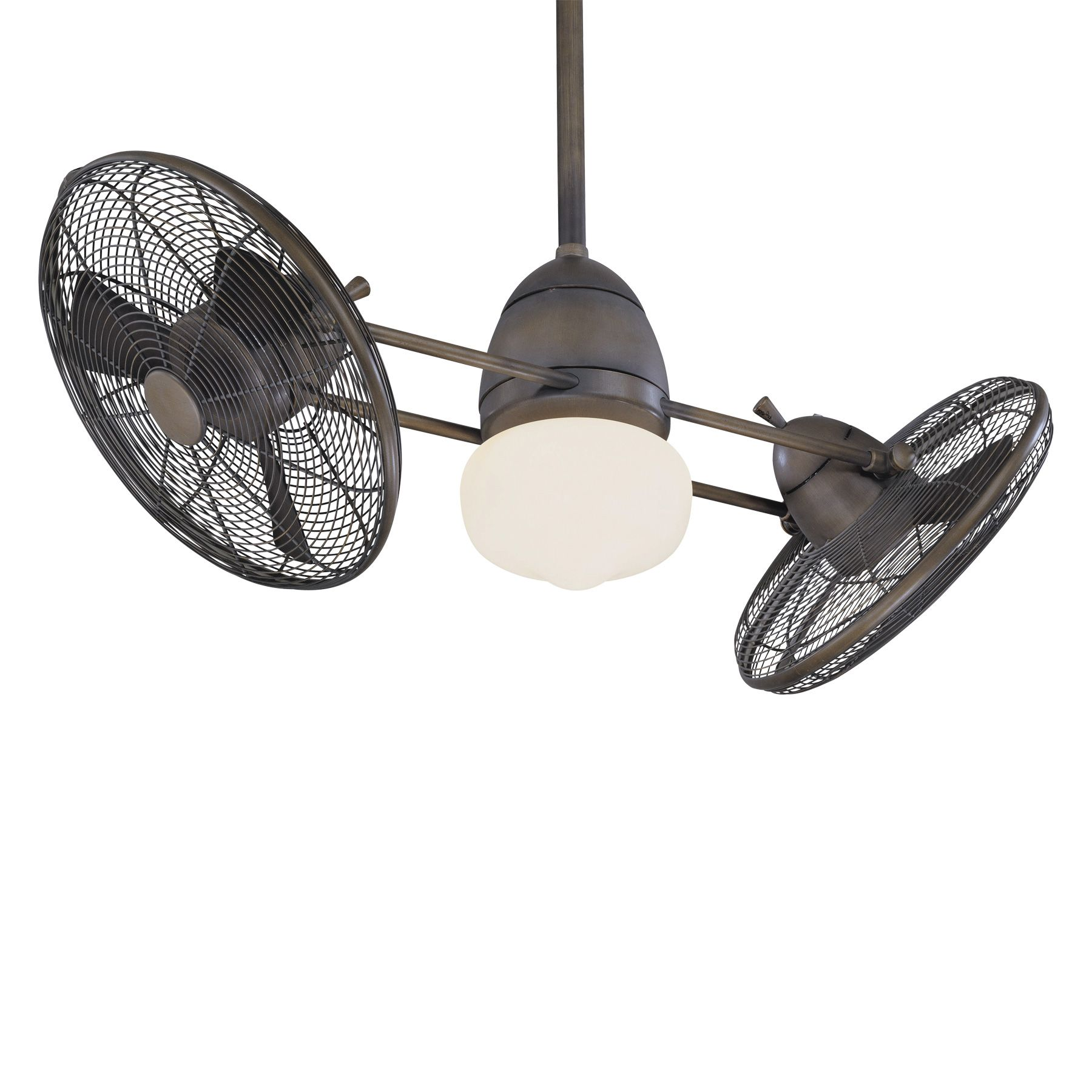 Dual Outdoor Ceiling Fans With Lights Gyro Twin Turbo Fan By Minka Aire F602 Rrb Ceiling Fan