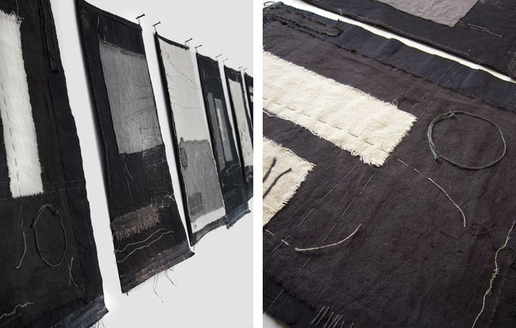 Gizella K Warburton   #textile_art | notes on cloth i – vi textile, mixed media, stitch, silver 270 x 48cm (32 x 48 cm each)