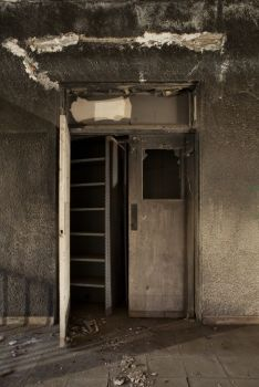 Double doors covered in soot at abandoned hospital; Rancho Los Amigos & Double doors covered in soot at abandoned hospital; Rancho Los ...