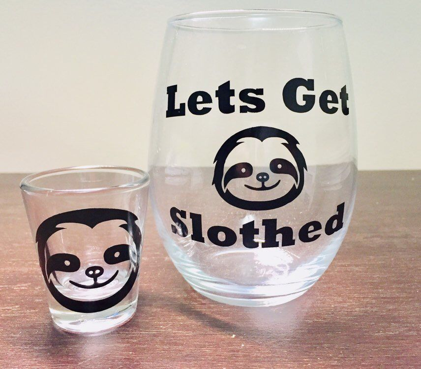 Let/'s Get Slothed Sloth Funny Wine Glass