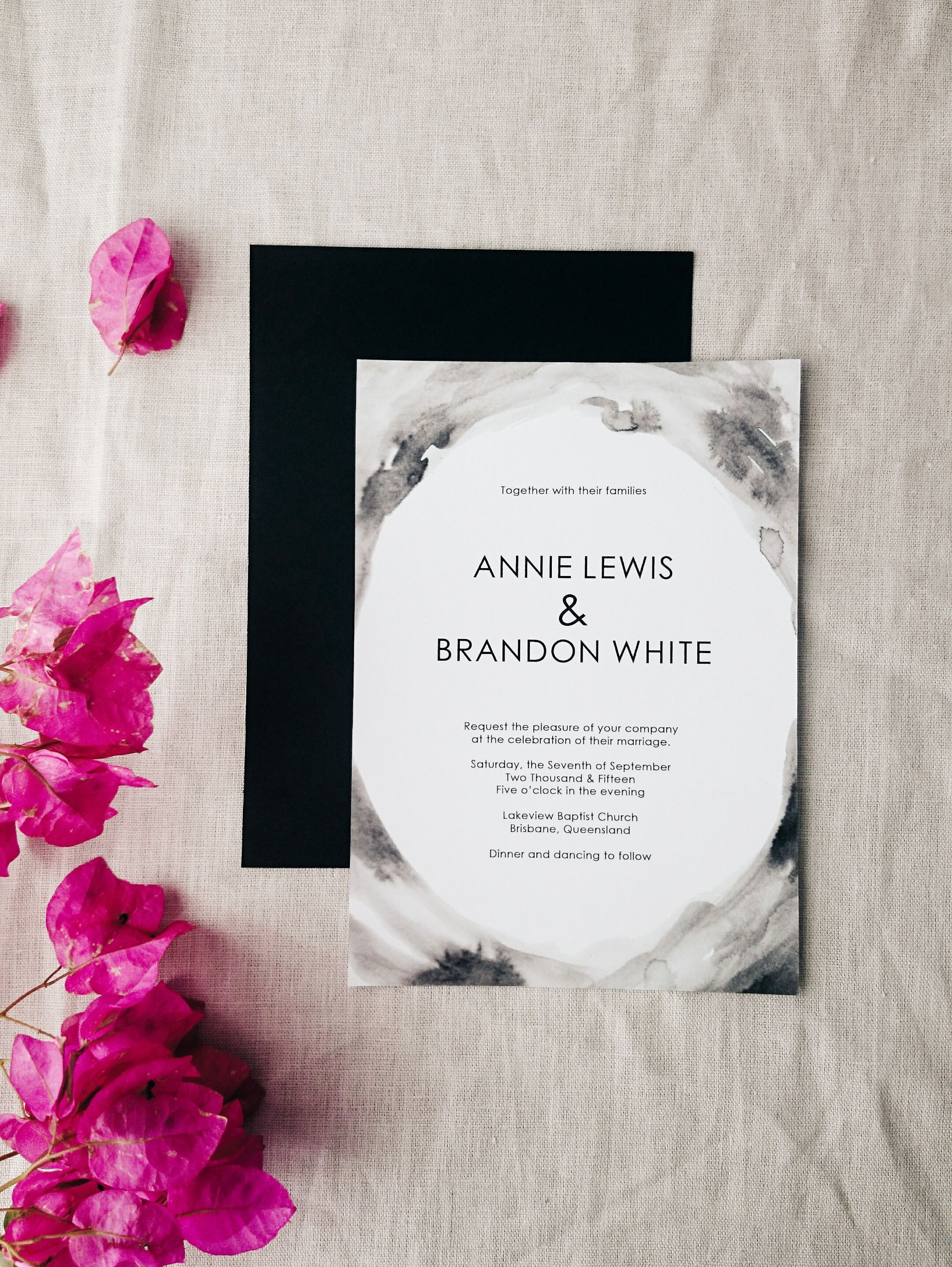 Lilith printable wedding invitation - hand drawn water colour effect ...