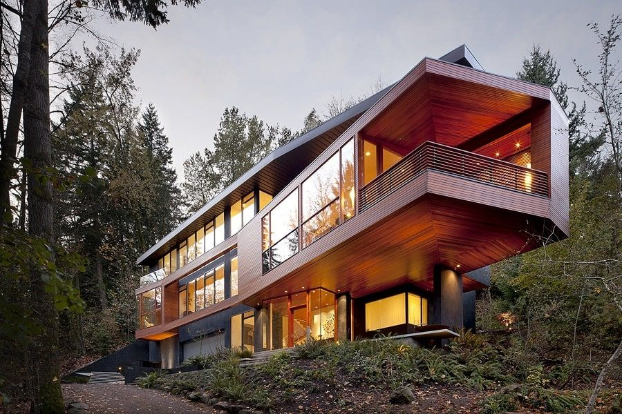 When Edward First Introduced Bella To His Parents He Also Introduced Us To His Stunner Of A Home Hidden In T Twilight House Contemporary Building Architecture