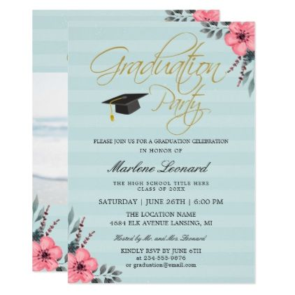Pink Floral Gold Script Teal Blue Photo Graduation Card  Script