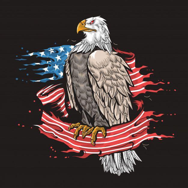 AMERICAN USA EAGLE Eagle usa flag fire  Premium Vector
