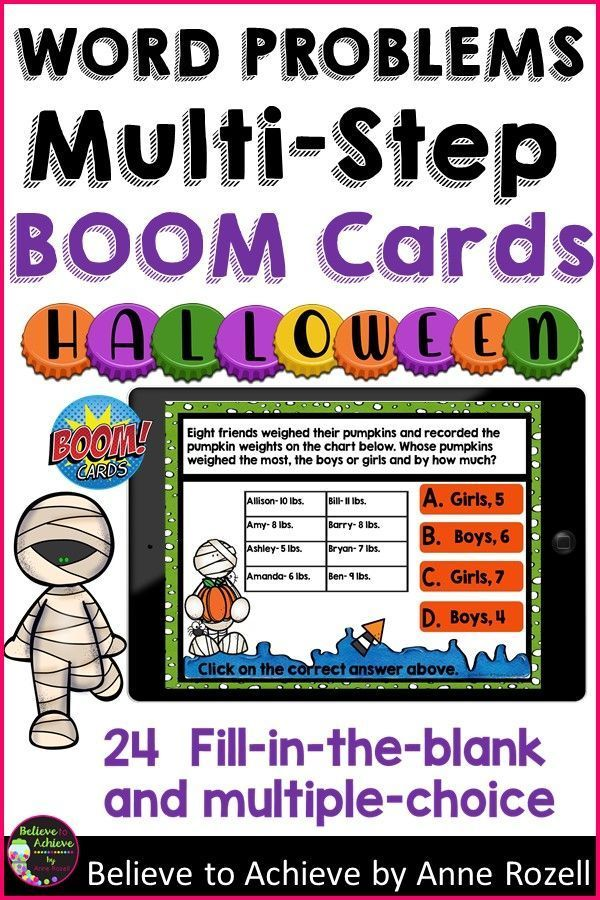 Halloween 2020 Problems Word Problems Multi Step Halloween BOOM Cards #Distance Learning