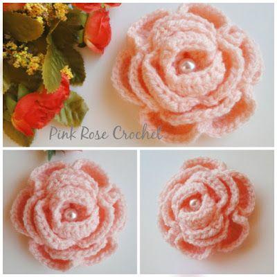 PINK ROSE CROCHET: Flor Rosa Enrolada Peach Rose Flower